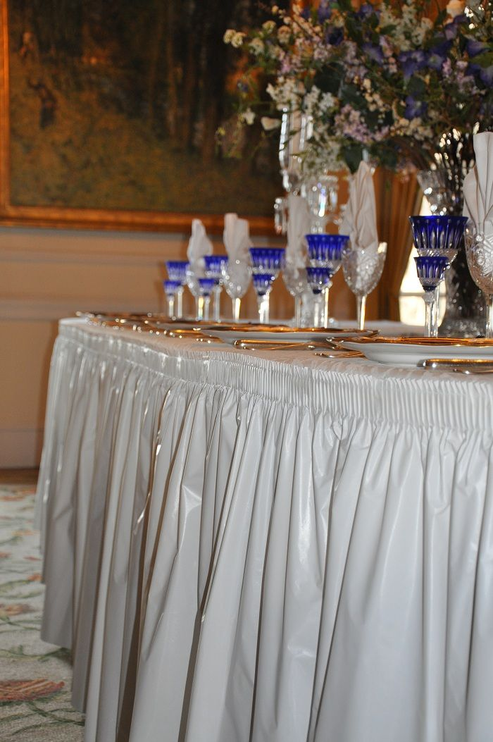 elegant linen look table skirt its plastic from tableskirts and more