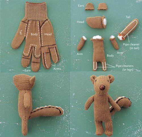 cute use for old gloves...I'm not this creative but looks simple!: Projects, Crafty, So Cute, Socks Monkey, Toys, Crafts Idea, Kids, Stuffed Animal, Gloves Squirrels