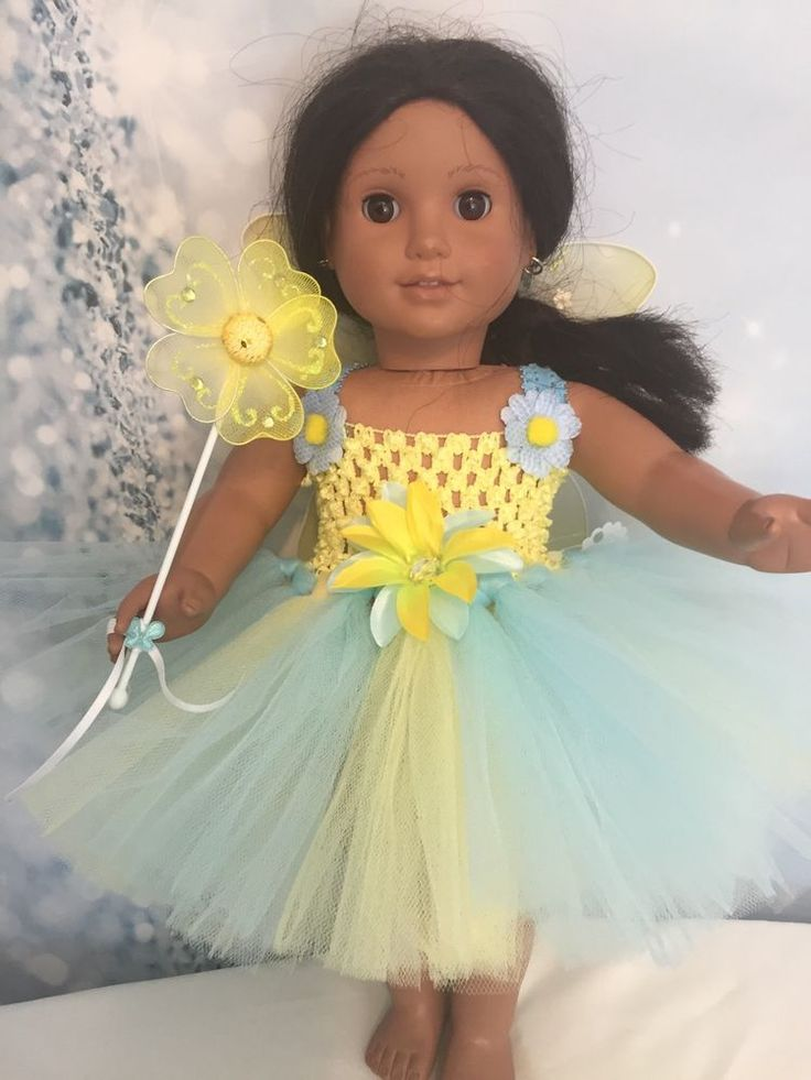 "American Girl Doll Yellow tutu dress Wings And Wand clothes fits all 18"" dolls"