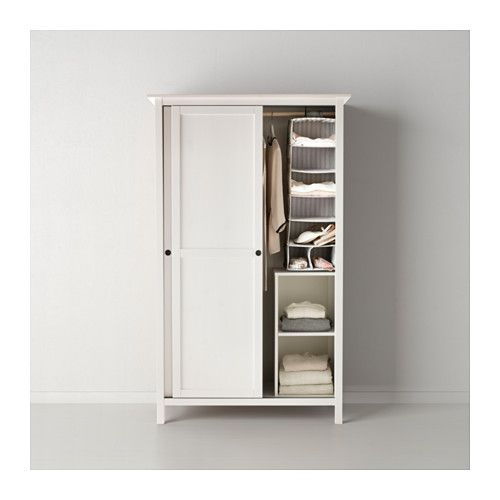 HEMNES Wardrobe with 2 sliding doors - white stain - IKEA Try these for extended kitchen storage in dining room ( broom closet, mixer storage, other larger appliance storage, also hang table runners) 1 on each end glass door cabinet in middle