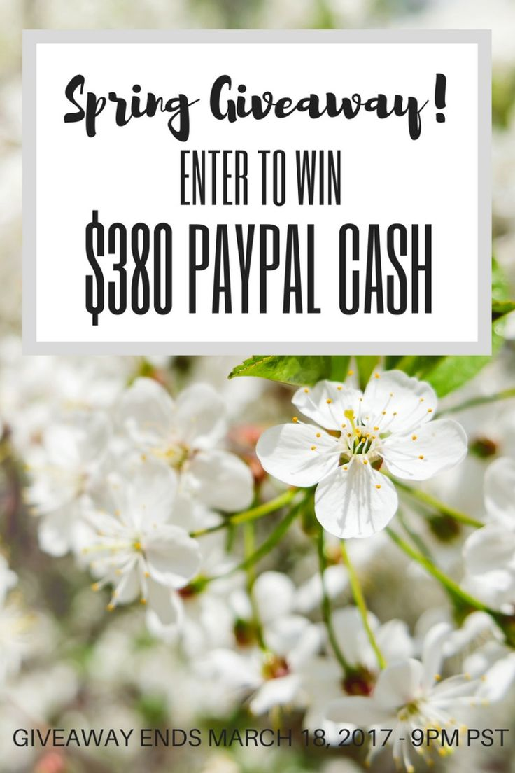 Enter the Spring Giveaway for your chance to win $380 Paypal Cash! Open Worldwide. Ends March 18, 2017.