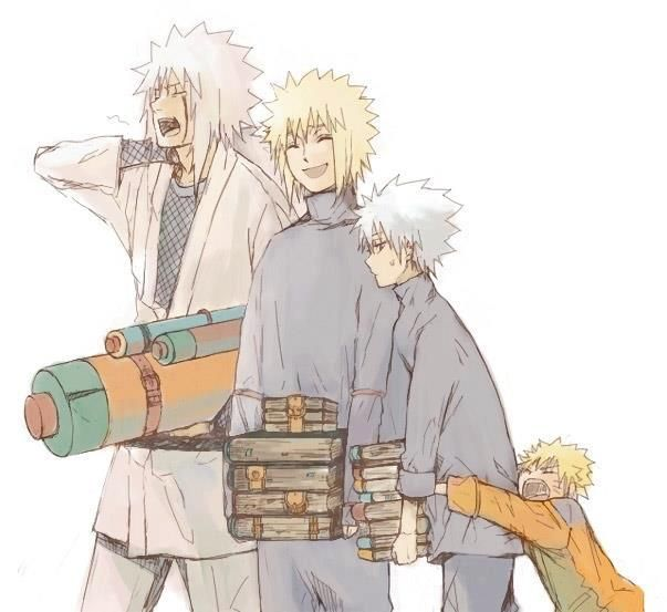Jiraiya, Minato, Kakashi, Naruto. This is the way naruto should have grown up like.