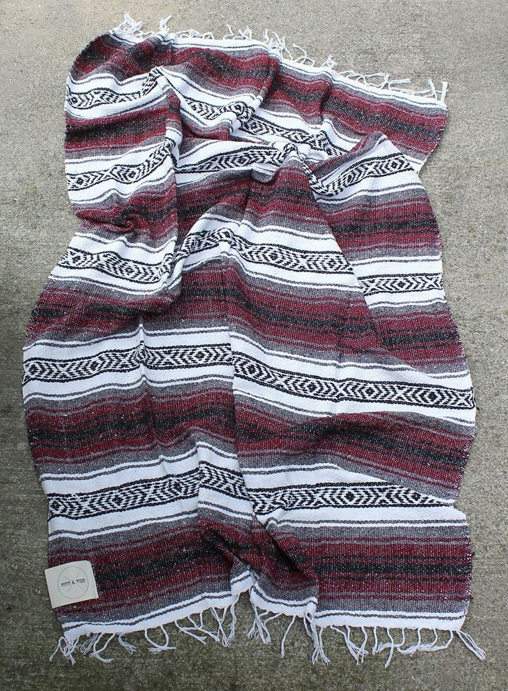 Vino Mexican Blanket by Mntn & Moon | burgundy red falsa throw