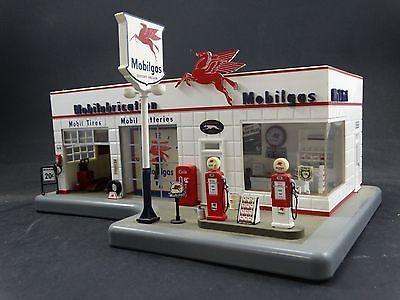 Find Gas Stations >> Danbury Mint Mobilgas Service Station Model Light Up Clock ...