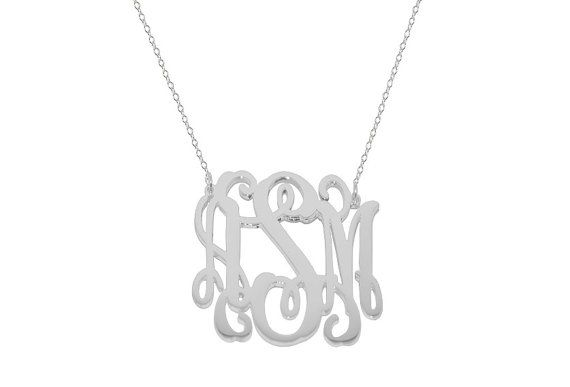 Personalize silver monogram necklace 1 Any by justforfundesign