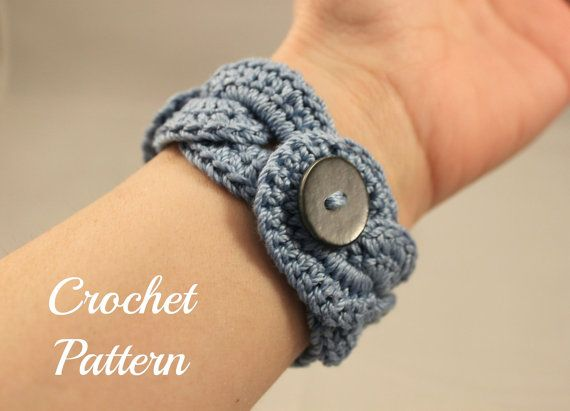 Crochet Patterns Jewelry : Cuff, Crochet Bracelet, Crochet Cuff Pattern, Crochet Jewelry Pattern ...
