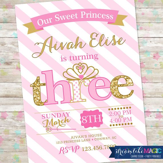 Princess Birthday Invitation 3rd Party Invite Pink And Gold Glitter THREE Little