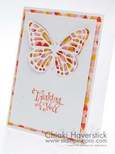 Very simple, yet cheery. Sassy Salutations Stamp set: Tangerine Tango Flowerpot DSP; Butterflies Thinlits
