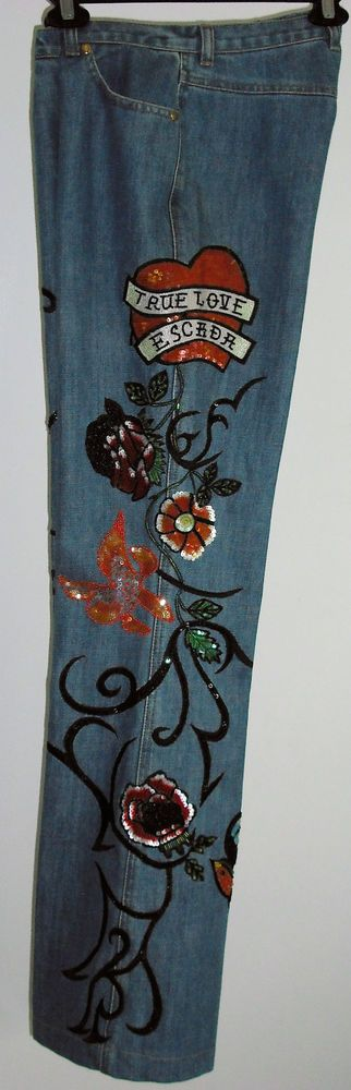 Sold! ESCADA Vintage Denim Jeans Pants 4 34 Embroidered Tattoo True Love Sequin Heart