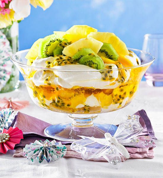 Tropical trifle: Fresh and fruity with a zing of coconut rum, there'll be no more love on the run when you're sharing this dreamy Caribbean queen trifle.