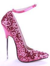 Zapatos de punta con lentejuelas rosadas con correa de tacón stiletto