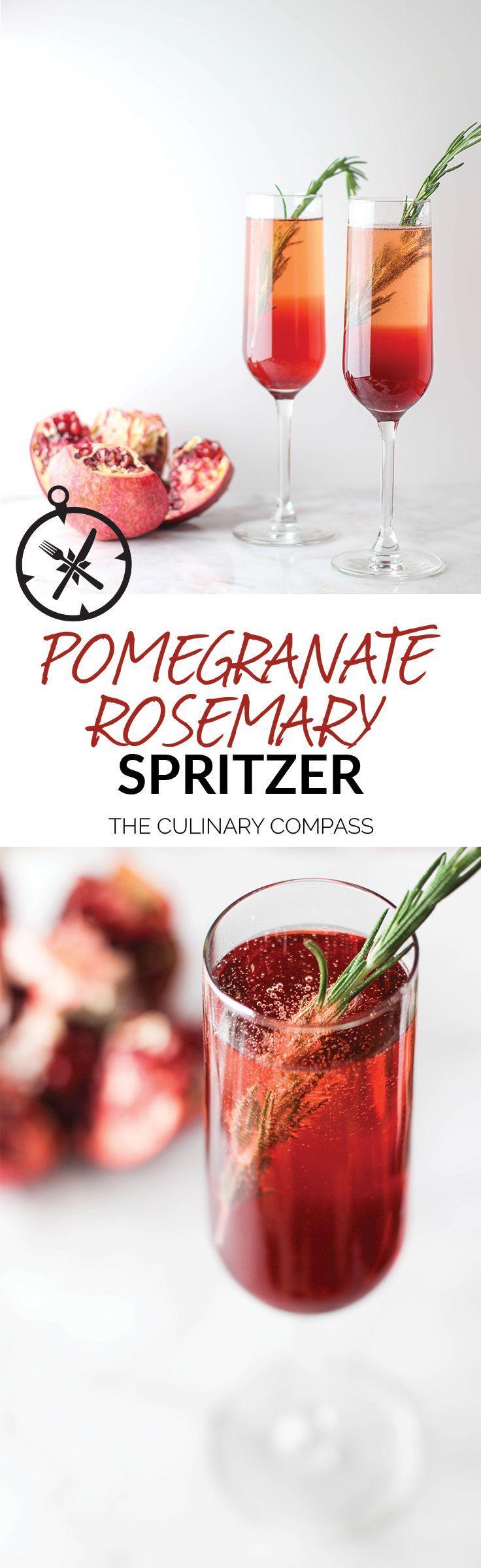 Pomegranate Rosemary Spritzer via @culinarycompass