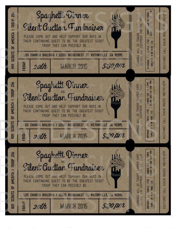 fundraiser ticket design spaghetti dinner silent by bajdesigns