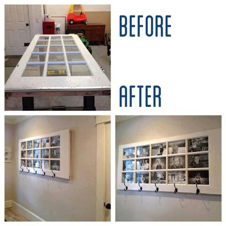 Old glass panel.door made into a photo collage with hooks. Perfect.for an entryway.