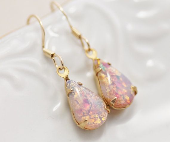 Vintage Fire Opal Earrings Petite Vintage by hangingbyathread1