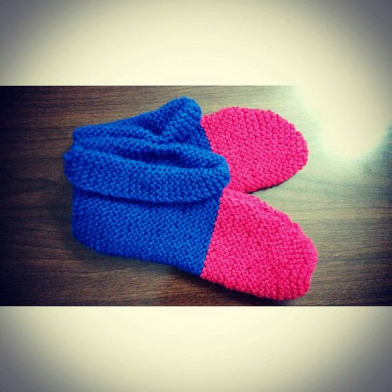 Pink & Blue Hand Knitted Slippers, Socks, Booties, Handmade, Natural