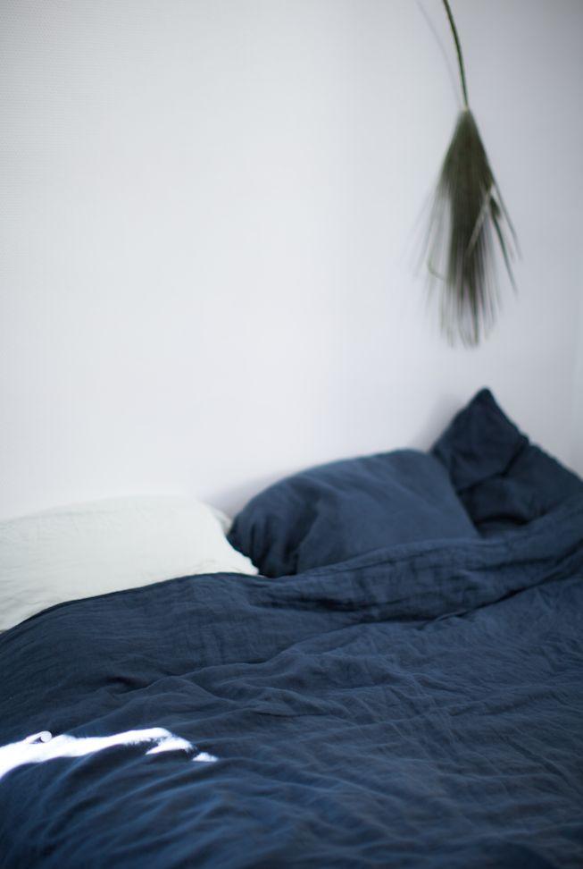 Blue bed linen