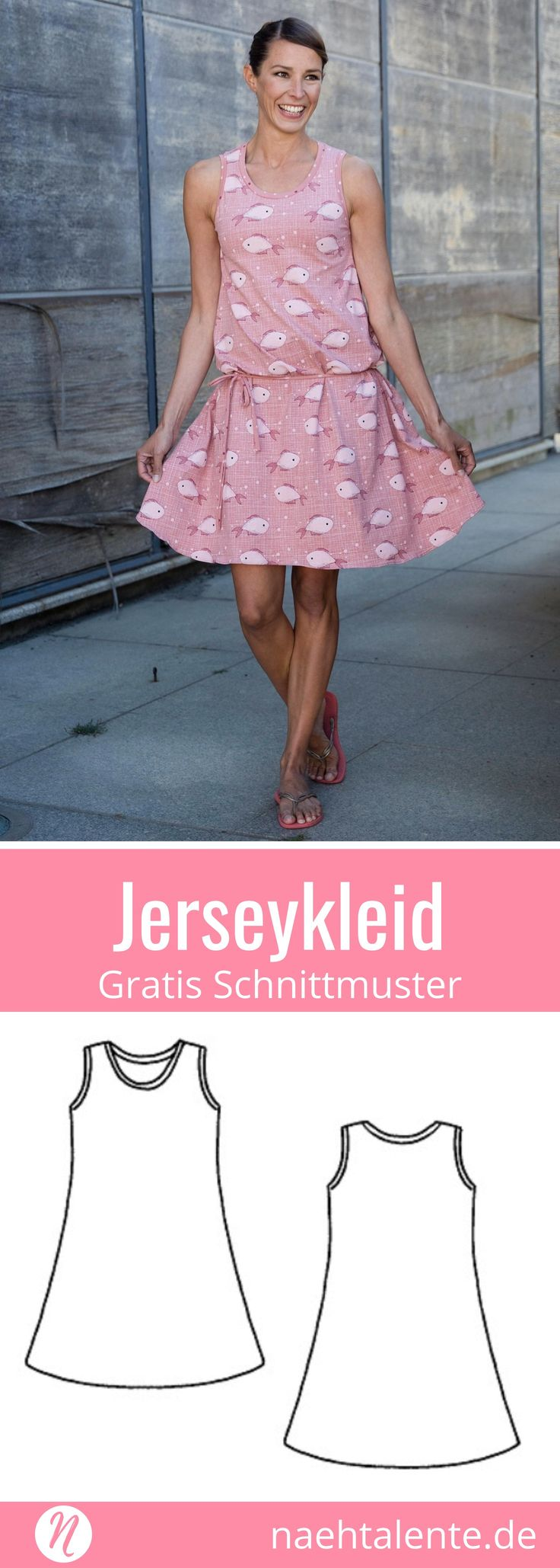 Kostenloses Schnittmuster für ein ärmelloses Jerseykleid für Damen. PDF-Schnitt zum Drucken in Gr. 32 - 54. ✂ Nähtalente.de - Magazin für kostenlose Schnittmuster und Hobbyschneiderinnen ✂ Free sewing pattern for a woman swinging knit dress. PDF-sewing pattern for print at home in size 32 - 54. ✂ Nähtalente.de - Magazin for sewing and free sewing patterns ✂ #nähen #freebook #schnittmuster #gratis #nähenmachtglücklich #freesewingpattern #handmade #diy