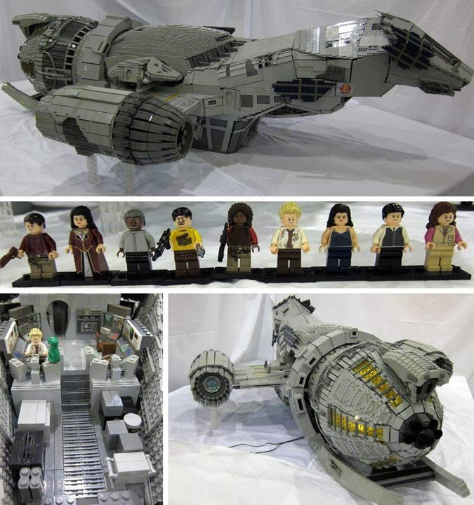 Firefly Cast Custom LEGO Minifigs & LEGO Serenity by Adrian Drake (It's over 7 feet long & 70,000 pieces!)