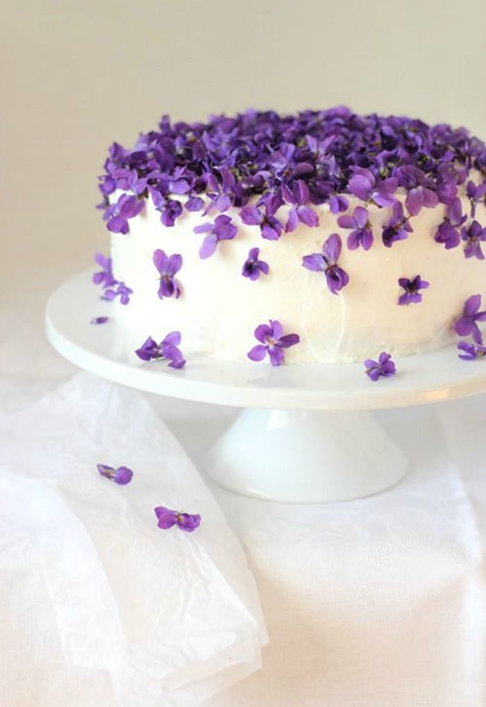 Violet Cake... this would be pretty for food at a dance if you made a few of them.
