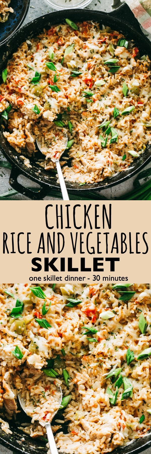 Chicken, Rice and Vegetable Skillet - Deliciously seasoned bed of rice chock-full of chicken pieces, veggies, and so much flavor! Everything you need for a delicious dinner made in just one skillet! #skilletdinner