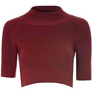 Burgundy High Neck Knitted Crop Top