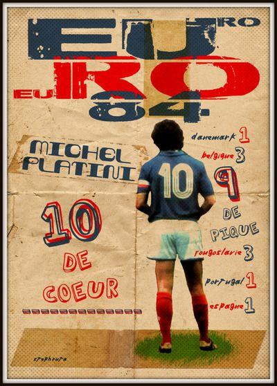 THE VINTAGE FOOTBALL CLUB ARTWORK  EURO 84  Michel Platini: 10 de coeur, 9 de pique.