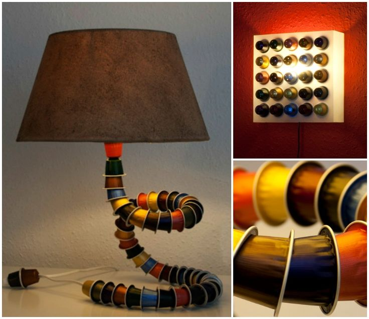 Yes, there are real Nespresso caps! #Nespresso #Handmade #Recycled #Snake #TableLamp
