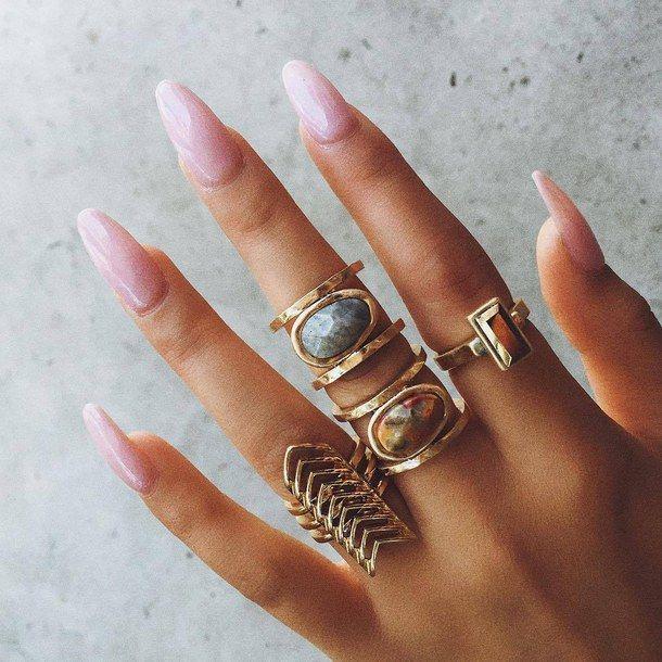аксессуары, богемно, мода, золото, ювелирные изделия, ногти, розовый, розовые ногти, стиль