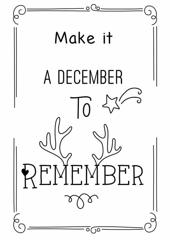 Make it a December to Remember. Zwart witte Kerstkaart met mooie boodschap.