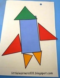 using shapes and colors to make a rocket