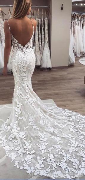 See Through Spaghetti Straps Lace Mermaid Cheap Wedding Dresses Online, Cheap La…