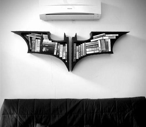 Dark Knight bookshelf. What! I want that.
