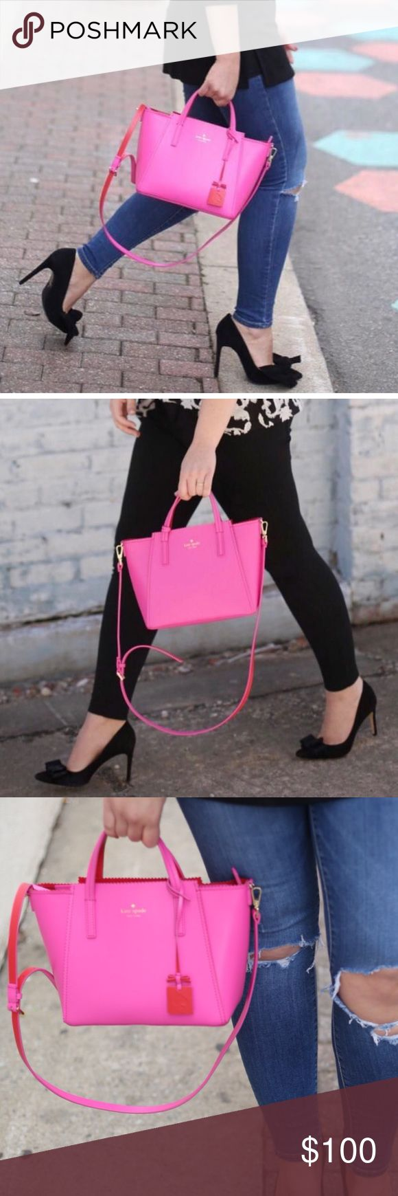 Pink Kate Spade Tote This gently used Kate Spade is the perfect pink bag to add a spring pop of color to your wardrobe! kate spade Bags Totes