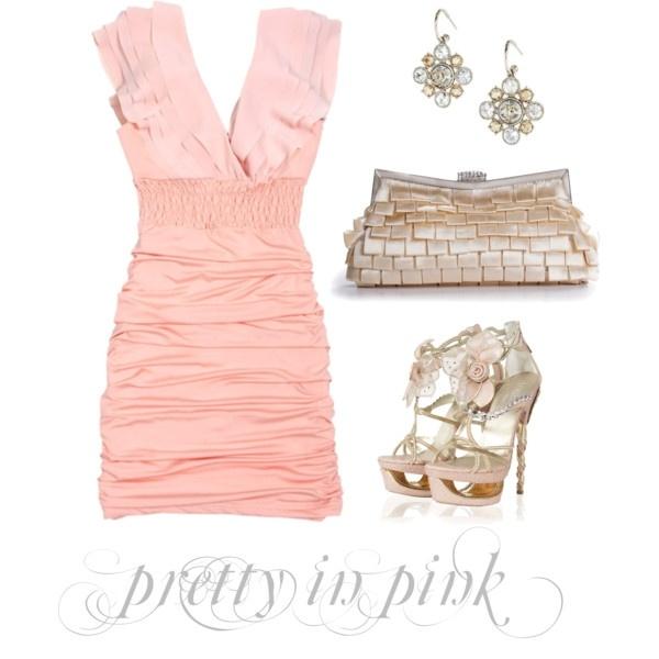 pretty in pink (Pink Chiffon Double V-shape Sheath Dress $46) $46