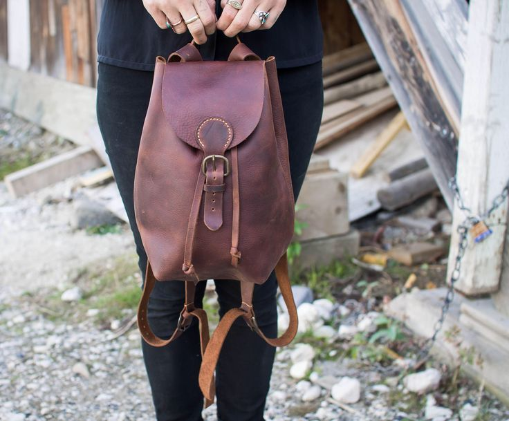Excited to share the latest addition to my #etsy shop: Handmade Leather Backpack, Hand Stitched Leather Backpack, Small Leather Backpack, Woman's Leather Backpack, Leather Rucksack