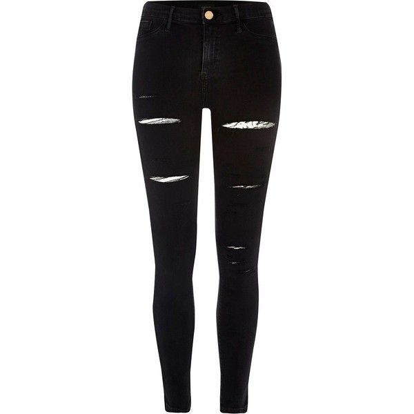 River Island Black slashed leg Molly jeggings found on Polyvore featuring pants, jeans, bottoms, calça and river island