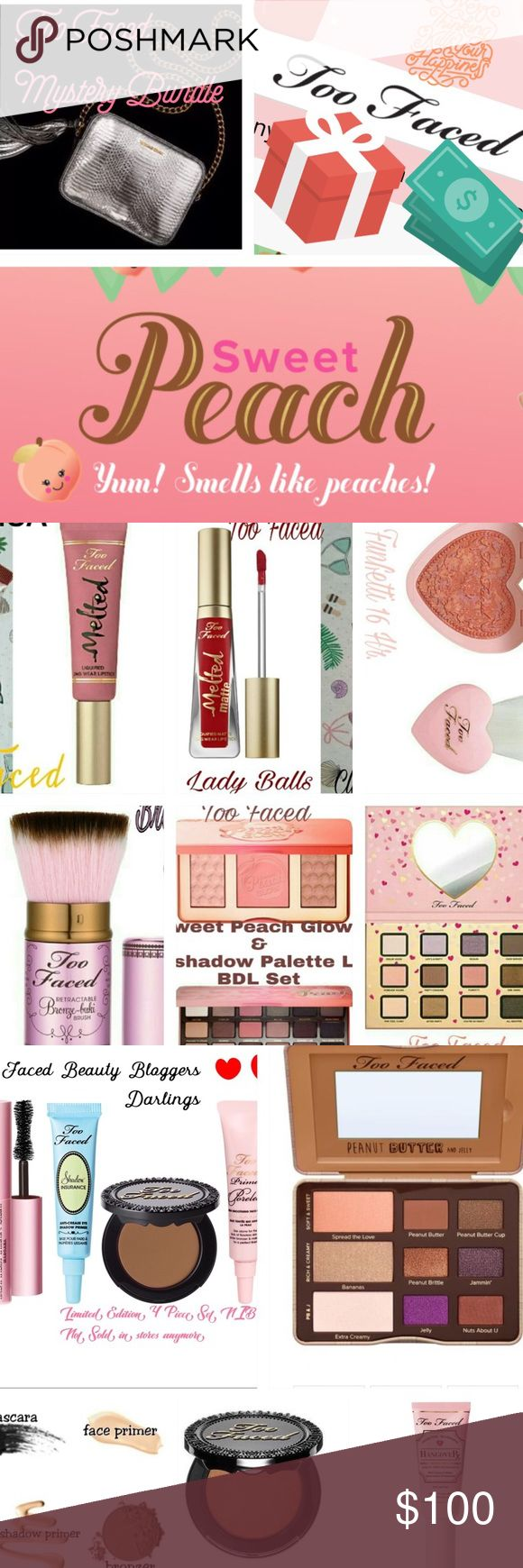 TOO FACED Mystery Bundle  200$ Retail Value Mystery Bundle of all BRAND NEW TOO FACED ITEMS with a retail value of 200$. Pictured items may or may not be included but it gives you an idea of some of my Too Faced Inventory. I have much more that's not even listed yet that may be included. If you are interested, I'm open to hearing your preferred items. Doesn't mean you'll receive them but I will do my very best to at least include 1 item you want in Bundle. Purchase at your own risk. Read…