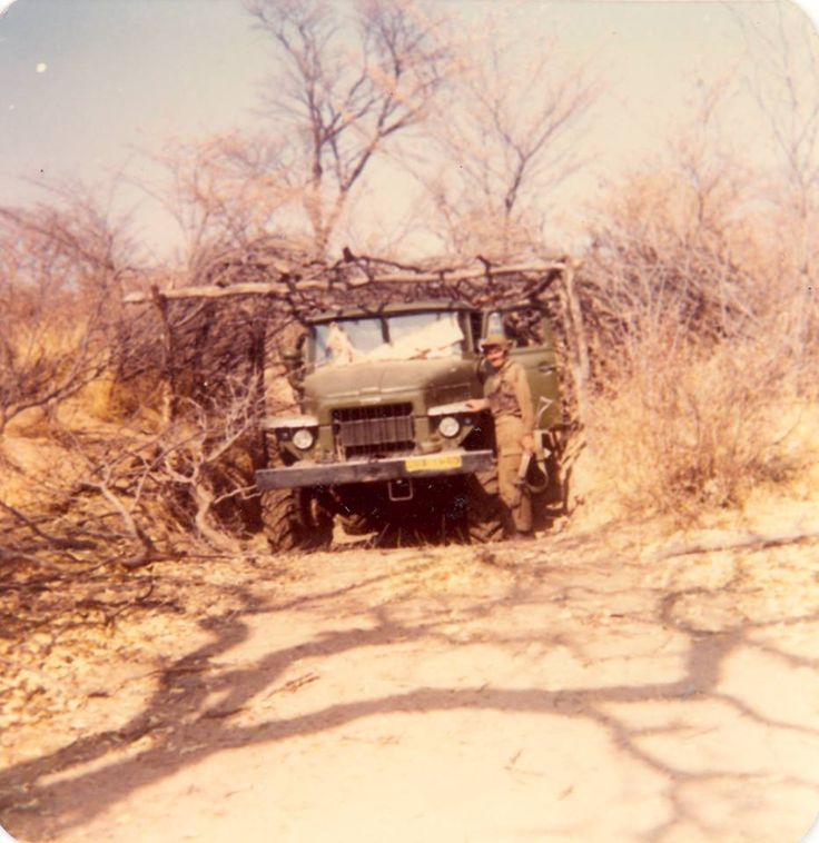This photo was taken about the fourth day after SADF had attacked Onjiva in Operation Protea.. Bats and Ratels had spent 3 days clearing the trenches of the big Fapla base next to the airport...tons of captured Soviet weapons and equipment was brought together and driven/loaded back to SA.