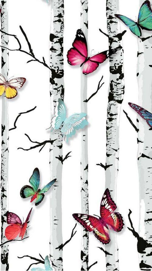 Best Emperors Garden Wallpaper White Multicoloured Butterfly 400 x 300