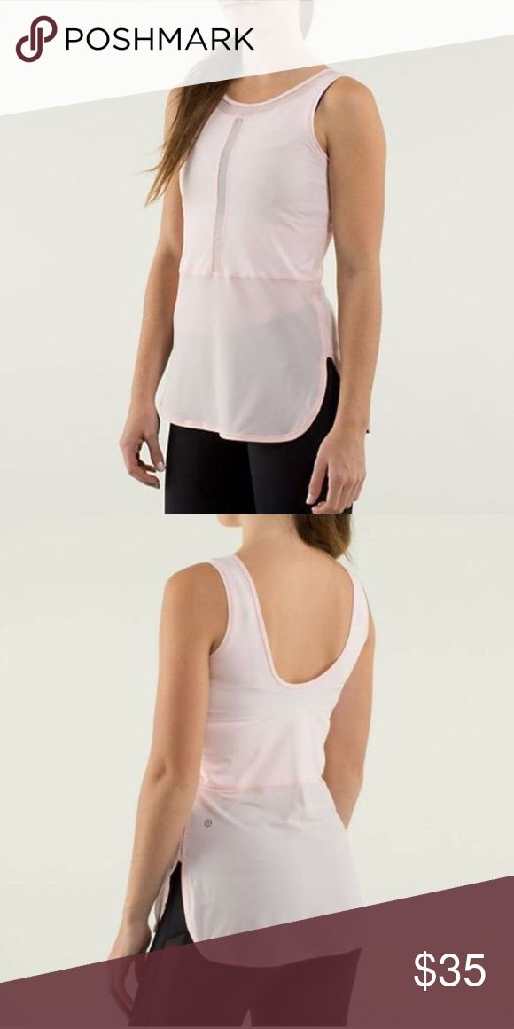 Lululemon Ride inside Tank Work a few times, but has absolutely no show of wear! It's still in great condition. Very pretty light pink color, and it's reversible! Great for all types of workouts. I just need to get rid of some lulu.. I have lots! 🙈 lululemon athletica Tops Tank Tops