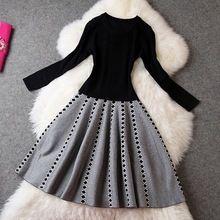 Women spring dress 2016 NEW High quality plus size XL knitting Clothing Fashio Dresses Casual Slim sweater winter autumn Dress(China (Mainland))
