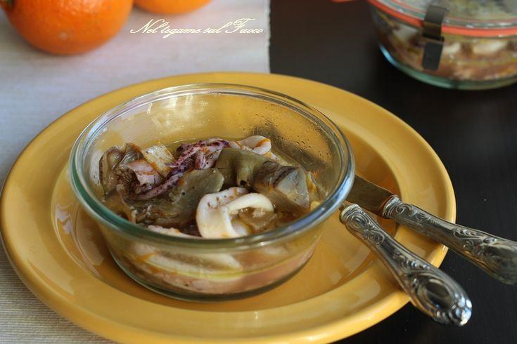 Calamari+e+carciofi+all'arancia+in+vaso+cottura