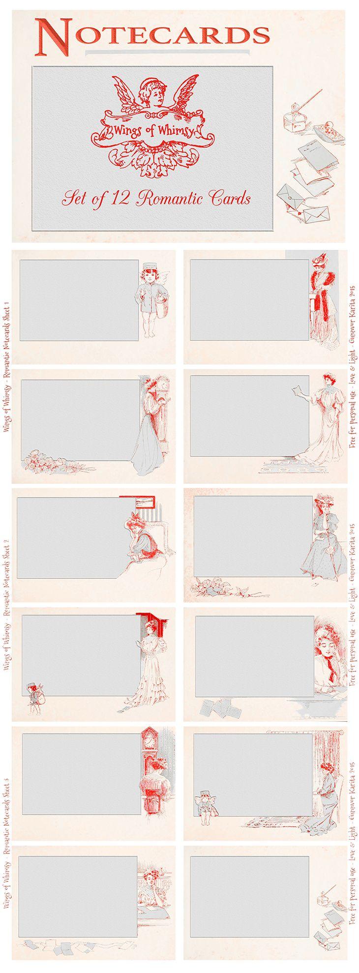 Wings of Whimsy: Set of 12 Romantic Notecards #freebie #printable #vintage #ephemera #notecard# romantic
