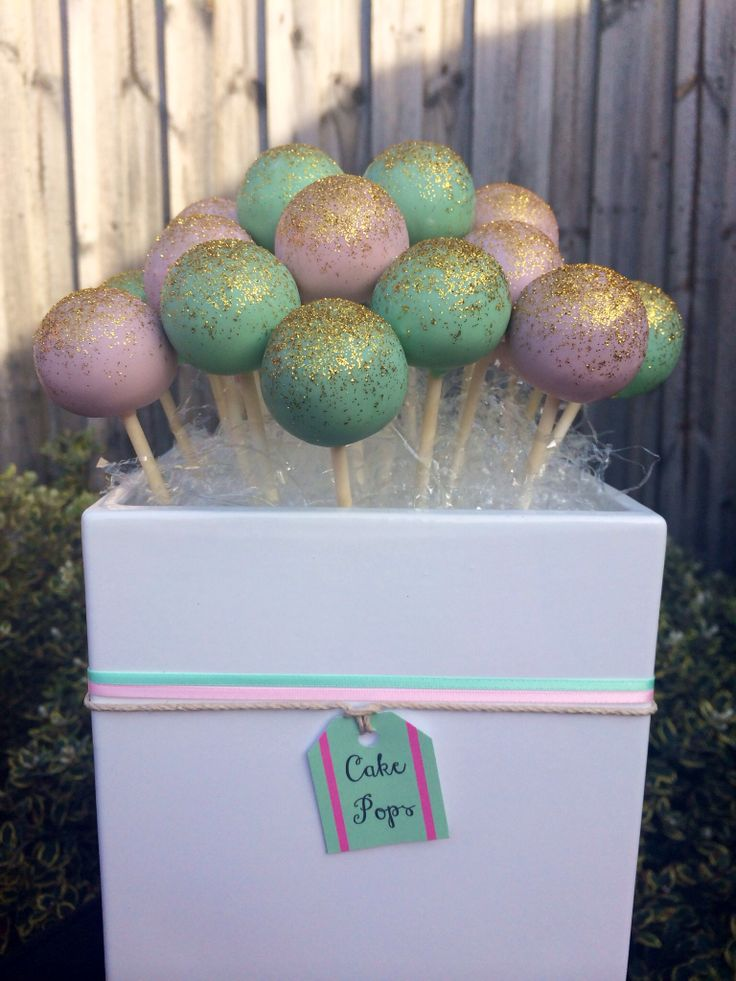 Mint, Pink & Gold Cake Pops Find me on Facebook - Creations By Chanelle