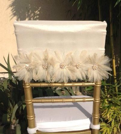 2015 Chair Sash for Weddings With 3D Flowers Pearls Tulle Delicate Wedding Decorations Chair Covers Chair Sashes Wedding Accessories