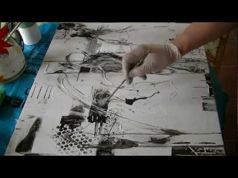 Abstract acrylic painting Black and White Abstrakte Acrylmalerei Schwarz und Weiß - YouTube