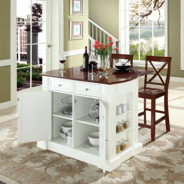 Crosley Drop Leaf Breakfast Bar Top Kitchen Island In White With 24 Cherry  School House Stools
