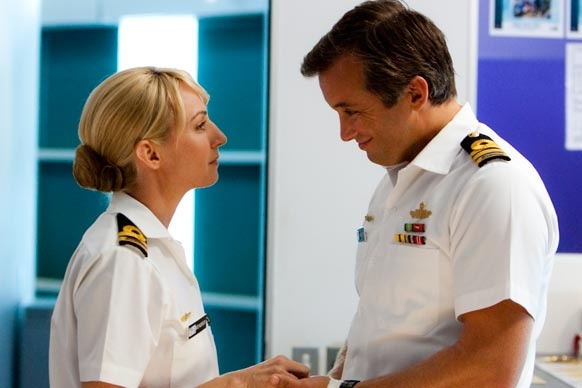 """Sea Patrol: Series 4, Episode 1 - """"Night of the Long Knives"""". Kate congratulates Mike on his promotion."""