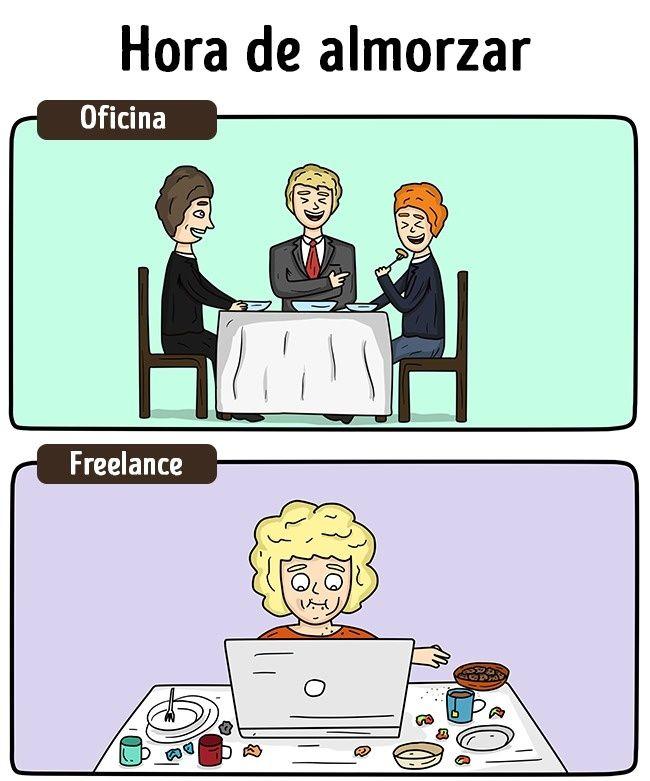 15Cómics que describen la vida de un freelance y la de un empleado de…